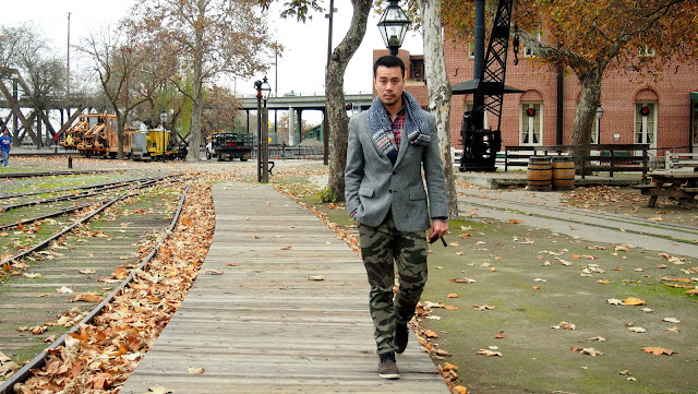 Layering Patterns - Camo Pants with Plaid Shirt and Scarf
