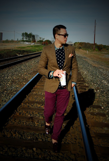 Layering Patterns - Polka-dot Sweater with Eggplant Chinos and Brown Tweed Jacket