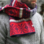 A red scarf in the classic flip