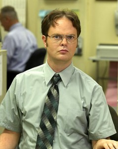 Dwight Schrute of The Office with creepy geek in short sleeve shirt and tie look
