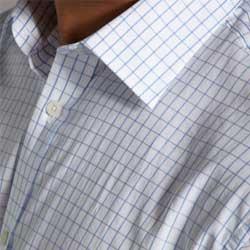 Blue Windowpane Check Pattern Dress Shirt