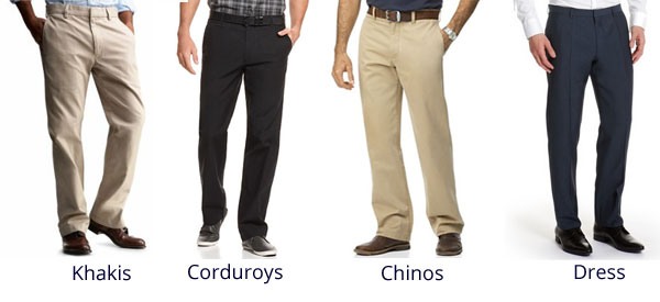 Khakis, Corduroys, Chinos and Dress Pants are appropriate for Business Casual