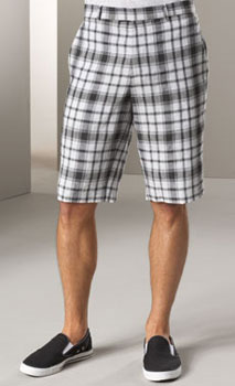 Plaid shorts with slip on shoes