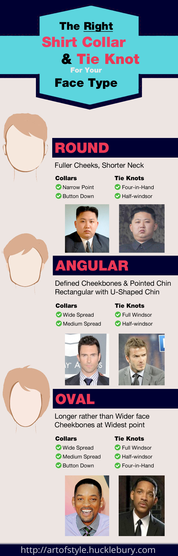 The Right Shirt Collar and Tie Knot for Your Face Type Infographic