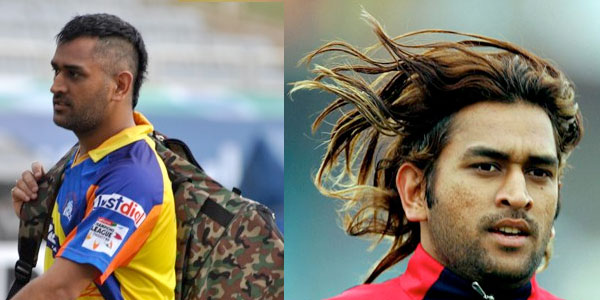 MS Dhoni Different Hairstyles