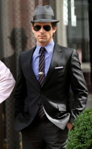 Stand Out like Neal Caffrey from White Collar wearing a Fedora, Sunglasses, Suit, Tiepin and Pocket Square