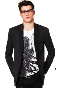 Printed Tee Shirt with Dark Fitted Blazer