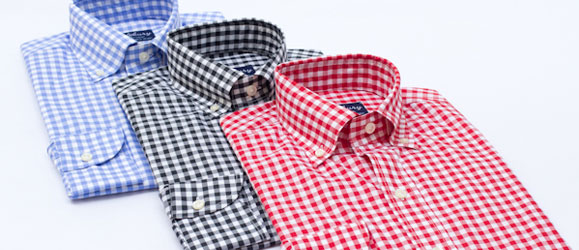 Blue, Black & Red Gingham Check Pattern Dress Shirts by Hucklebury