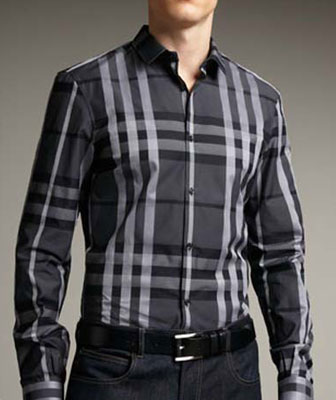 Tatersall plaid dress shirt casual wear
