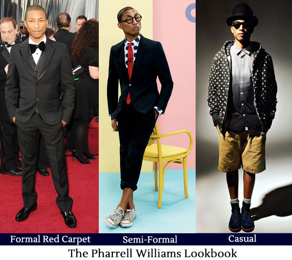 Pharrell Williams Lookbook - Formal, Semi-Formal, Casual