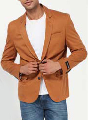 Orange Blazer over Jeans